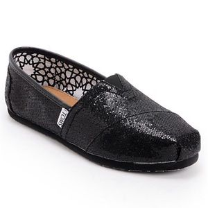1518081c60e8 Toms Shoes | Black Sequin Sparkly Loafers | Poshmark